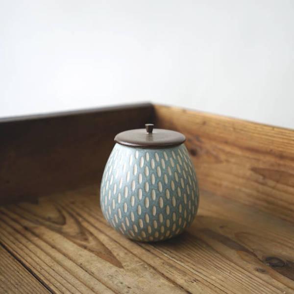 【作家茶器|山下真由美】果實茶罐 – 青